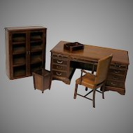 Salesman's sample miniature desk, chair bookcase set