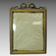 Antique hanging French bronze portrait frame convex glass