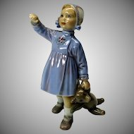 Vintage Dahl Jensen porcelain figure Girl with Teddy Bear