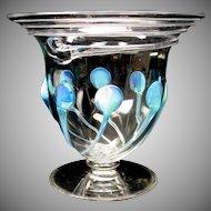Unusual Powell Art Nouveau opalescent ribbed glass vase