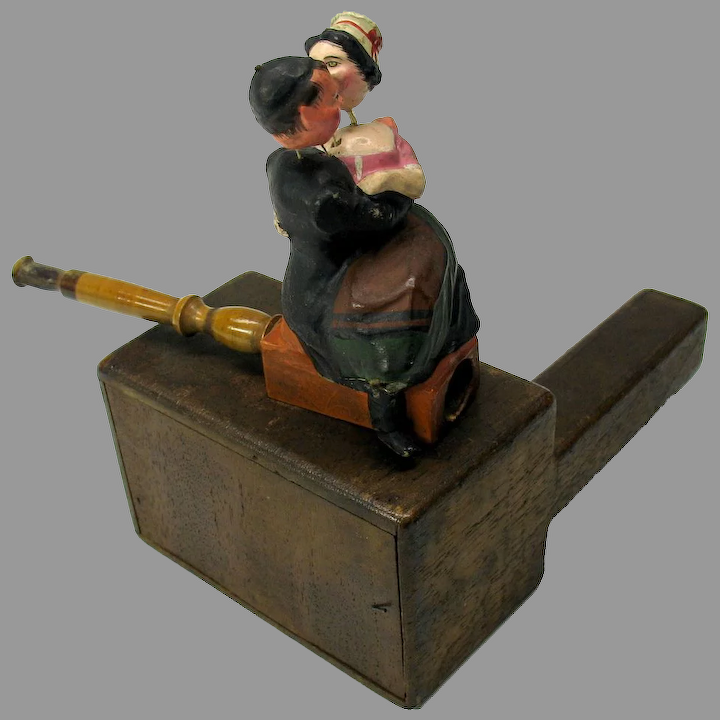 Early Nodding Paper Mache Cigar Pipe Holder Chinese Man Lady Quirky Antiques Ruby Lane