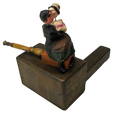 Early nodding paper mache Cigar pipe holder-Chinese Man & Lady