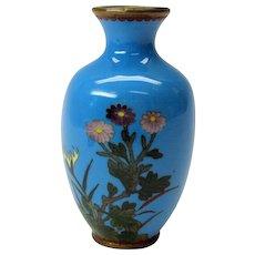 Miniature pale blue Japanese toy cloisonne cabinet vase