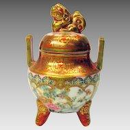 Signed Japanese Kutani porcelain dolls house miniature Koro jar