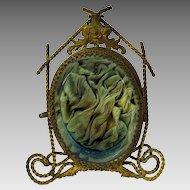 Victorian gilt metal and blue glass watch hutch