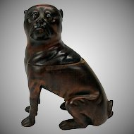 Rare full figure PUG dog glass eyed wood inkwell