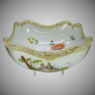 Antique hand painted Dresden porcelain center bowl purple vignettes