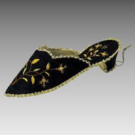 Early embroidered Ladies shoe hanging watch hutch