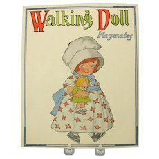 Mint Walking Paper Doll book kit 1926 old Store stock