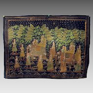 Antique Indian hand painted Temple cloth wall hanging Elephant parade through fields