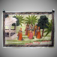 Antique Indian hand painted silk Temple wall hanging-Acolyte Women walking with God to Temple
