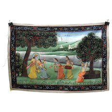 Antique Indian hand painted silk Temple wall hanging-God with a woman on a swing #1