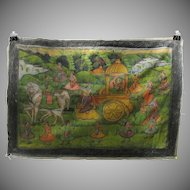 Antique Indian hand painted silk Temple wall hanging horses and elaborate float type carriage-worn