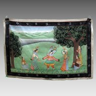 Antique Indian hand painted silk Temple wall hanging God dancing with devotees and batons