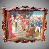 """Best 19th Century or earlier tapestry in stunning solid carved walnut frame 24"""" by 20"""""""
