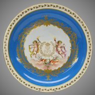 """Large early  porcelain center bowl with Cherubs Chateau De Neuilly 12 3/8"""""""