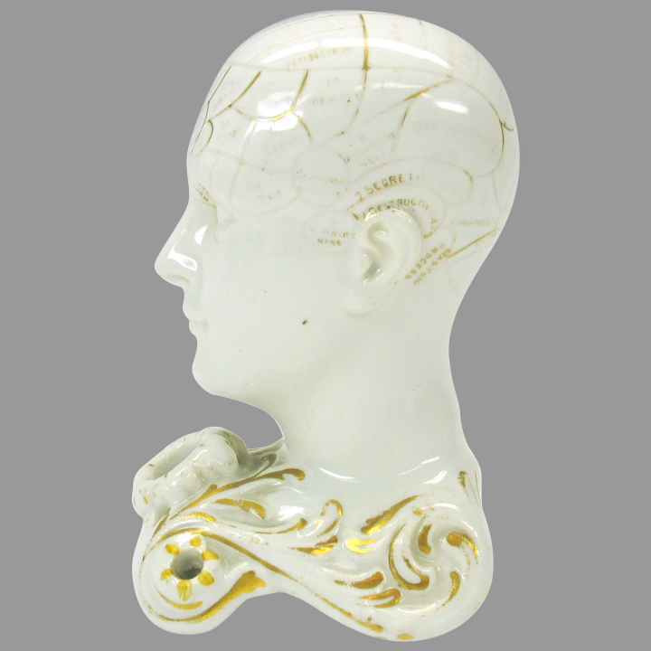 19th Century Phrenology Head Inkwell