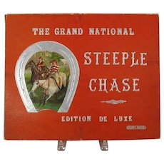 "Antique large Deluxe Steeple Chase Horse racing game 30"" long board by SPEARS"