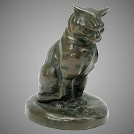 Antique lost wax bronze figure of a CAT looking at a snail with disdain-Artist signed