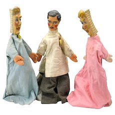 1900's set 3 DENTIST paper mache headed puppets 2 toothbrush + Dentist 21""