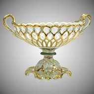 Lavish Paris porcelain reticulated basket centerpiece pedestal bowl with acorns