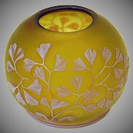 Antique Webb cameo glass lamp or light shade yellow with pink/white overlay