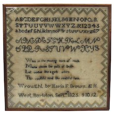 American Needlework sampler 1825 West Boylston MA