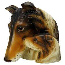 Rare HUGE vintage double Collie head vase planter-Mother & puppy