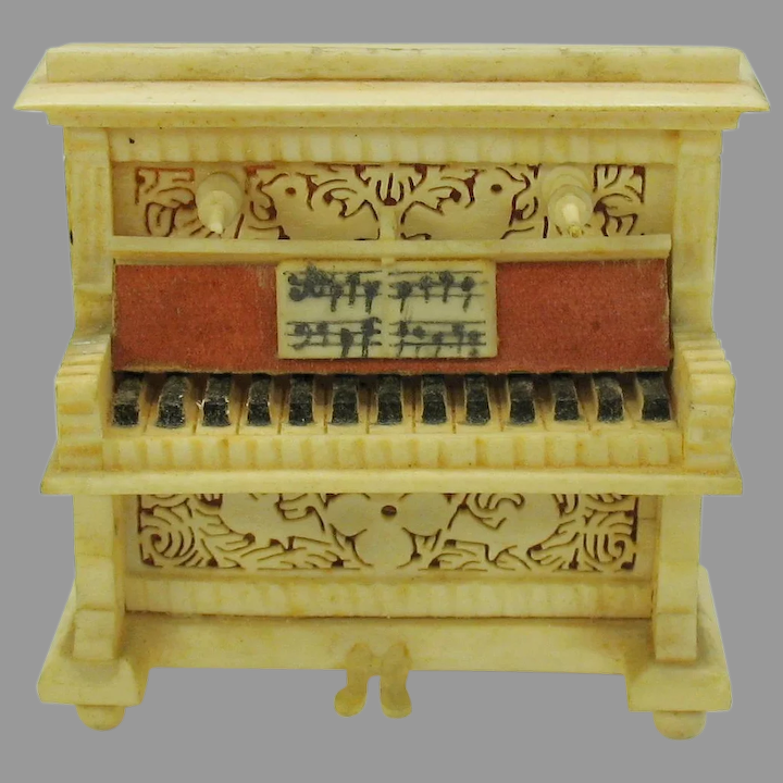 Antique Doll House Miniature Piano Intricate Carved Bone Quirky Antiques Ruby Lane