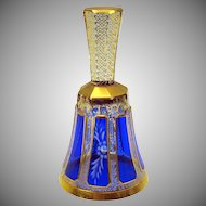 Vintage Moser glass cobalt to clear overlay gilded bell