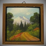 Original signed Willard J. Page miniature painting of Colorado doll house sized