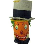 Rare antique German pumpkin with Top Hat Halloween noisemaker