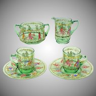 6 piece set enameled Venetian glass-2 cups, saucers, creamer & sugar