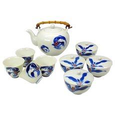 Vintage Koransha Fukagawa Japanese porcelain tea set sake cups & rice bowls 14 pieces