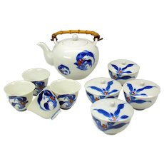 Vintage Koransha Fukagawa Japanese porcelain tea set sake cups & rice bowls 14 pieces
