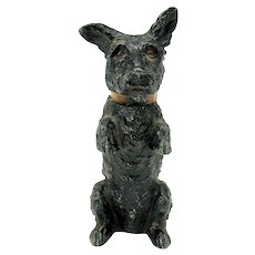 Unusual early Austrian painted soft metal begging Scottie dog lighter