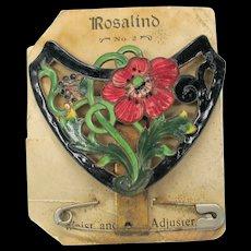 Rosalind Art Nouveau enamel corset adjuster belt buckle form on original card A