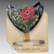 Rosalind Art Nouveau enamel corset adjuster accessory belt buckle form on original card B