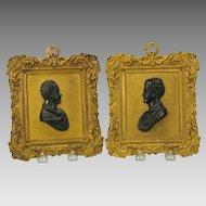Pair of Grand Tour gilt bronze Classical portrait wall plaques