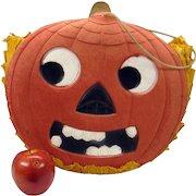 "Huge rare early German Halloween die cut Pumpkin face pocket book or candy bag 13 1/2"" by 14"""