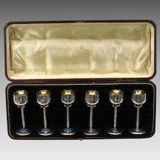 6 Mappin & Webb Art Nouveau sterling silver & enamel cordial glasses original box
