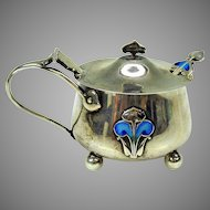 Arts & Crafts sterling silver & enamel mustard pot with matching spoon