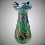 "Big vintage Austrian Art glass iridescent vase 13"""