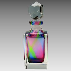 Vintage rainbow glass decanter bottle superb quality