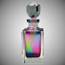 Vintage rainbow glass decanter bottle superb quality
