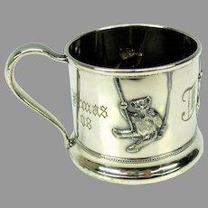 1908 silverplate child's mug-Teddy bears on swings