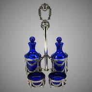 Antique 800 silver & cobalt glass condiment set oil vinegar & 2 footed salt dishes