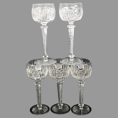 5 American Brilliant Period cut glass glasses with air twist stems claret or small wine