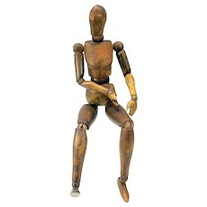 Art Deco French articulated Artist's manikin doll wood