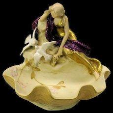 Art Nouveau Royal Dux Bohemia porcelain centerpiece Woman with Doves